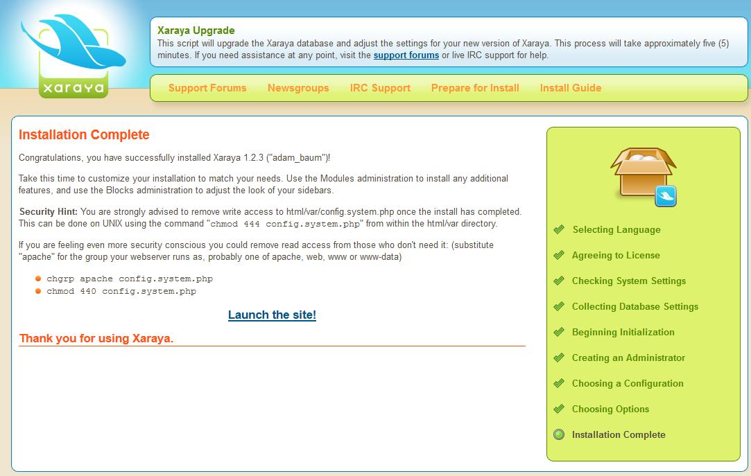 Instalace Xaraya 1.2.3 | Open source na Cesk�m hostingu